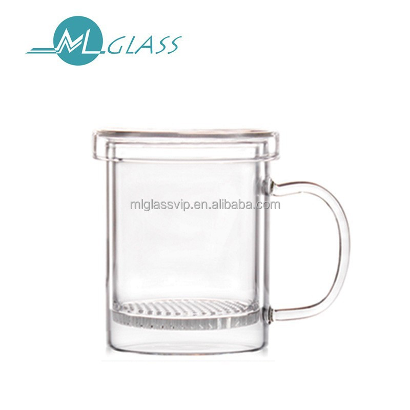 Wholesale handmade unbreakable high borosilicate 300ml drinking glass cup with handle N6463
