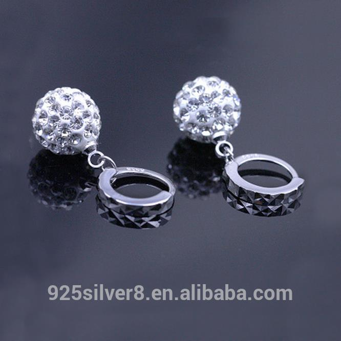 925 sterling silver as main material pave crystal disco ball earring