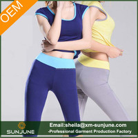 The new fashion plain solid color fitness yoga short sleeve design sweat suits