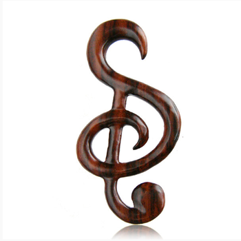 Personalized music note ear spiral expander piercings wood ear plugs