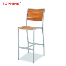 Commercial Contract TOPHINE Modern Furniture Tall Aluminium Metal Frame Teak Wood High Bar Stool Chair