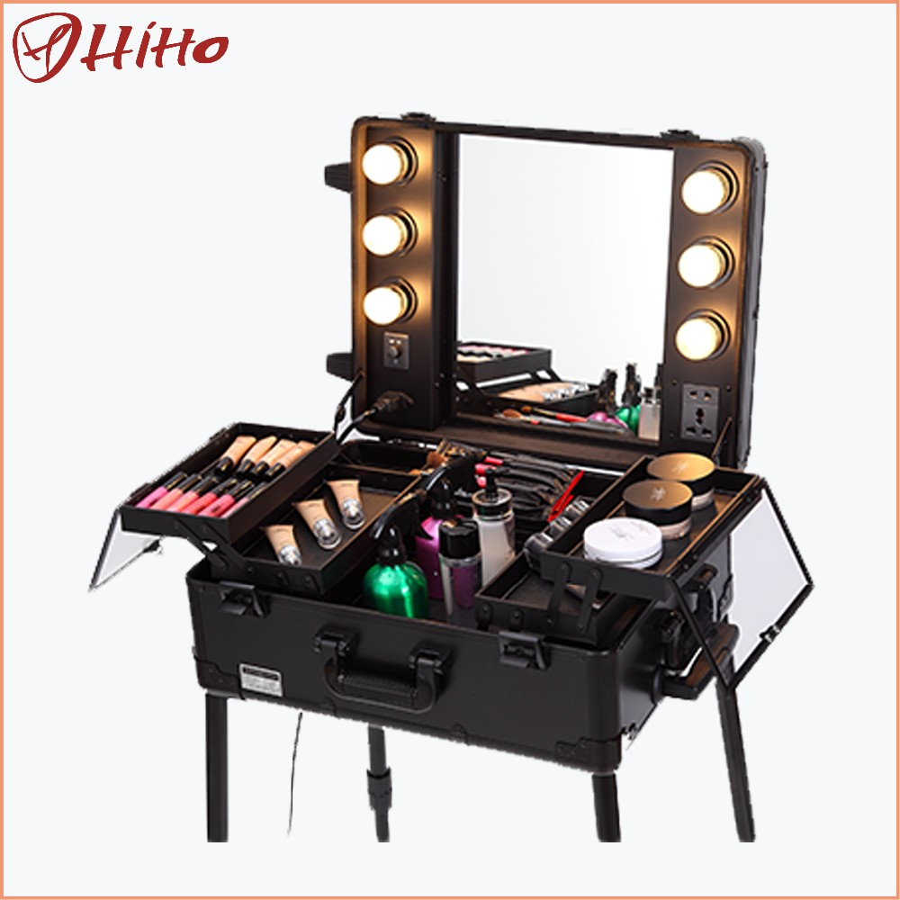 Professional rolling train trolley cosmetic case cosmetics trolley box