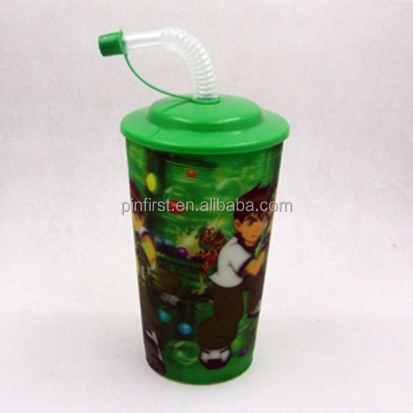 560ml Cheap Kids Customized Wholesale Plastic cup with straw and lid