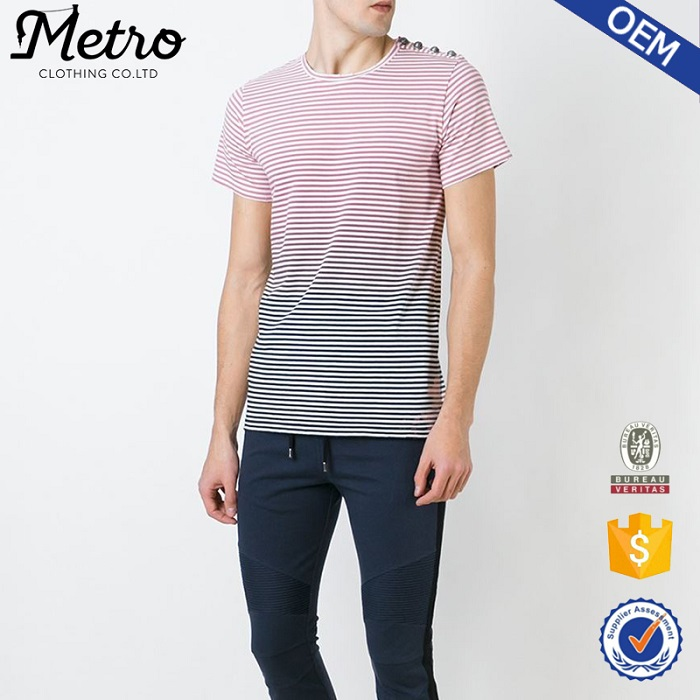 2016 hot sale custom navy blue, off-white and pink fine cotton striped t-shirt