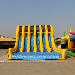 15x6m 6 lane vertical rush slide adults inflatable obstacle course for outdoor mud or color run
