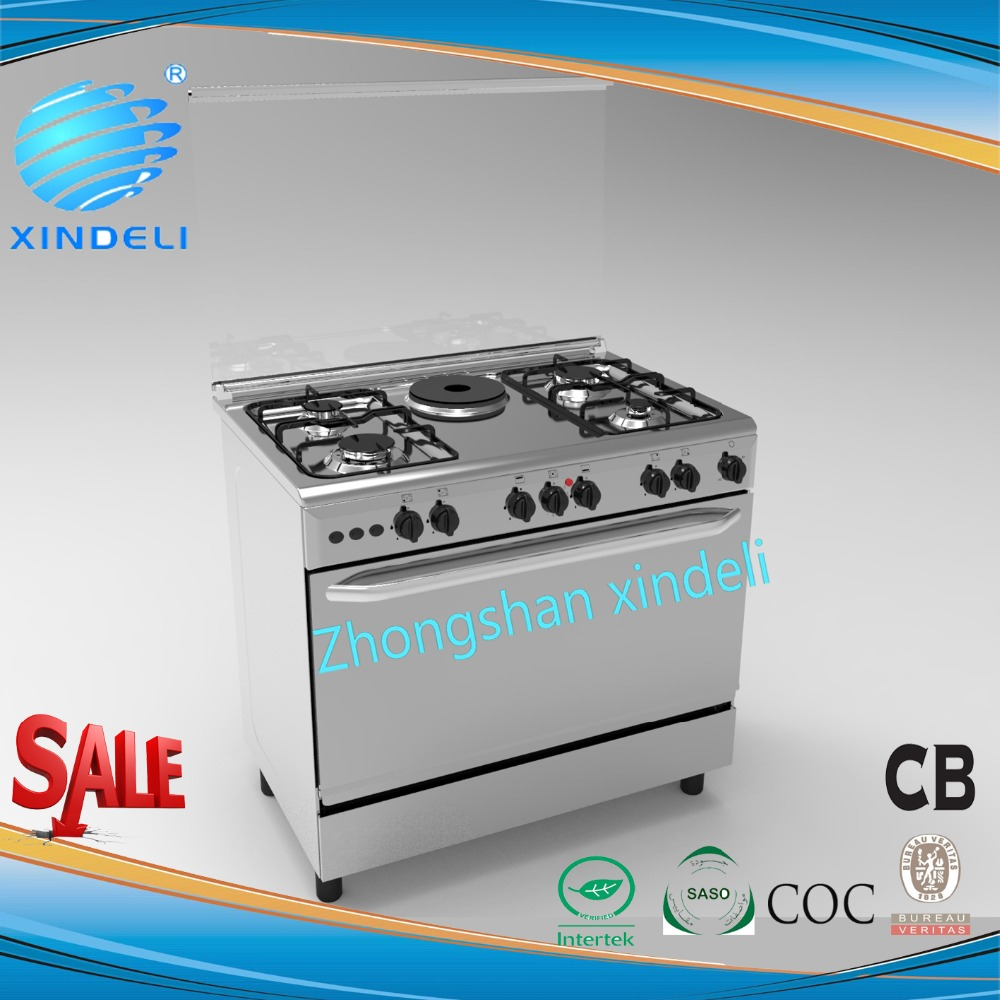 2017 90*60 New type freestanding cooker oven gas oven with 4 burners and 1 hotplate with lighing,turnspit and Auto ignition