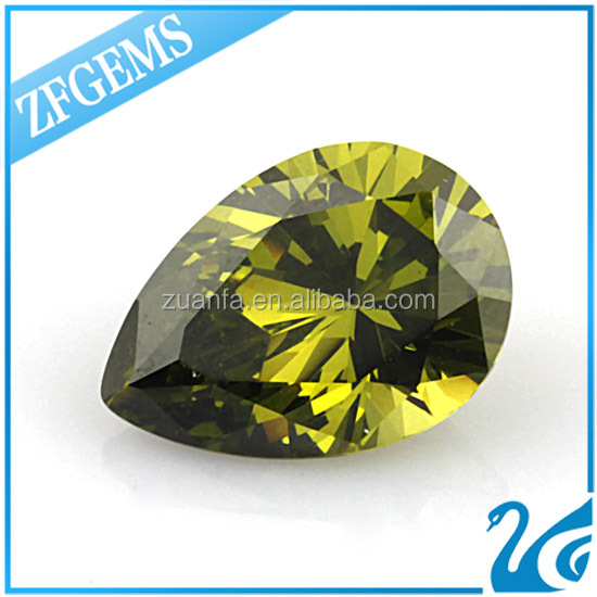 good quality aaa wuzhou wholesale peridot pear cut zirconia for silver ear studs