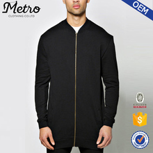 2016 Fashion Custom Mens Black Longline Bomber Jackets