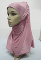 H309 latest instant hijab with lace fringes and rhinestones,muslim scarf