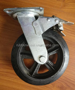 Heavy duty 8 inch solid rubber cater wheel