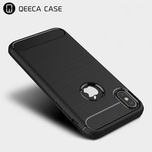 Premium new soft protective phone cover case for iphone 8 case carbon fiber back silicone