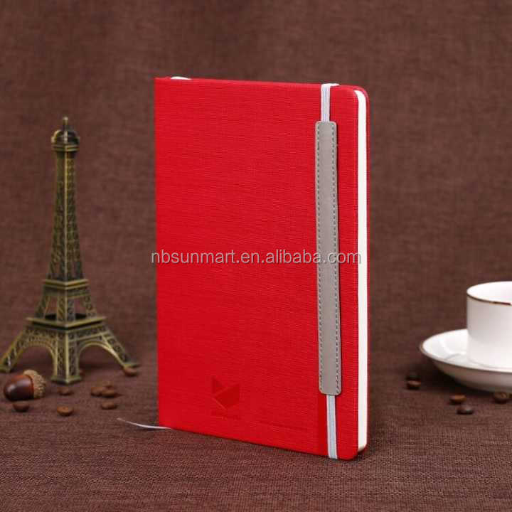 A5 PU notebook with matching color elastic band and elastic pen loop,additional: back pocket