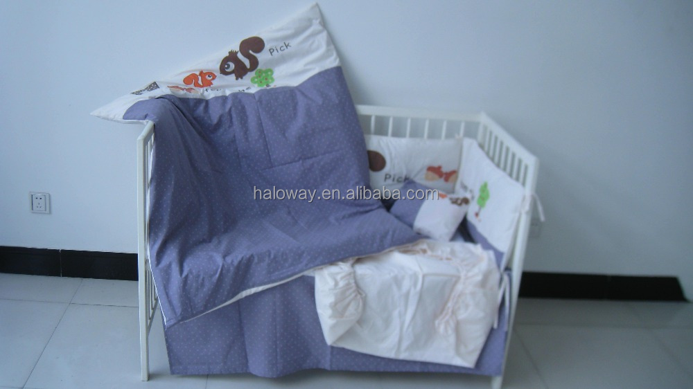 Bedtime 6pcs baby bedding set: quilt, fitted sheet, pillow, 2bumpers, dust ruffle