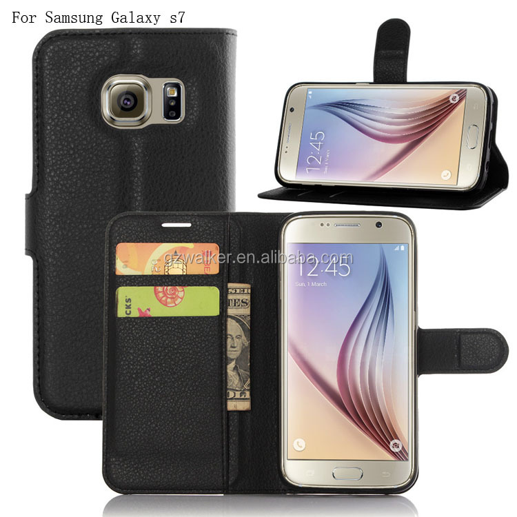 Geniune Stand Back Cover Pu Leather Wallet Mobile Phone Case For Samsung galaxy s7