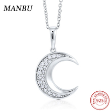 fashion 925 sterling silver cz crescent moon pendant necklace jewelry N873