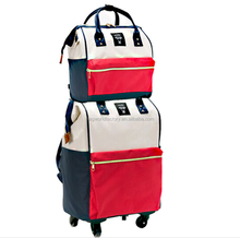 new stylish multifunction traveling trolley luggage tote backpack bag with 4 wheels