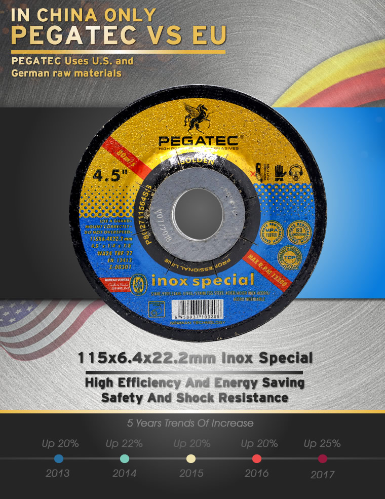 "4.5"" stainless steel grinding wheel with MPA EN12413"