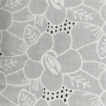 100% cotton fabric flower embroidery on fabric