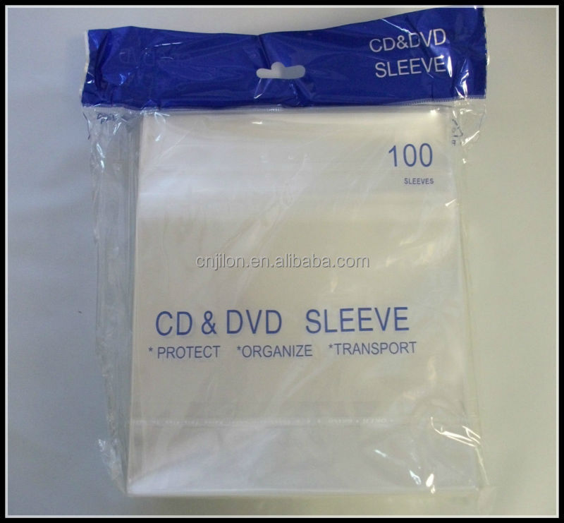 80 microns 100 microns Plastic CD DVD Sleeve with Flap CPP Sleeve
