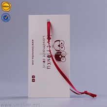 Sinicline customized lovely design ivory paper china hang tag for dolls