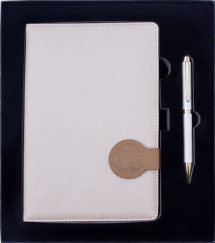 Promotional Business Gift Write Smoothly Felt Notebook And metal Pen Gift Set With Box