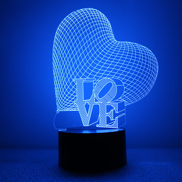 (Cheap) Custom Design 7 Colors Night Light Acrylic 3D Illusion Love LED Lamps for The Valentine's Day Gifts with Heart Shape