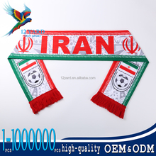Hot sell national day gift Heat transfer Iran velvet kintting soccer shawl for man