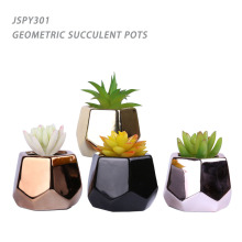 High Quality electroplating ceramic geometric mini succulent flower pots
