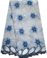 2014 fashion royal blue african swiss voile lace fabric(90687)