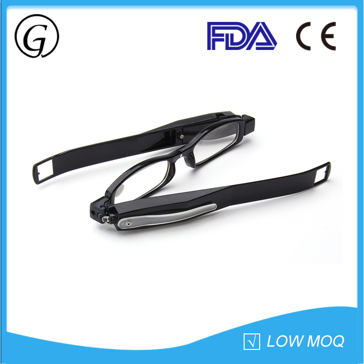 Hotsale slim black plastic folding LED light night vision reading glasses