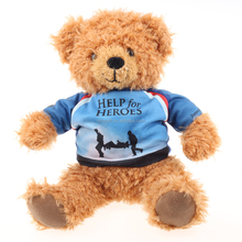 2016 plush brown teddy bears wear T-shirts with promotional words