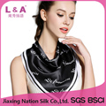 2017 New black and white silk scarf for women neckerchief print silk scarf