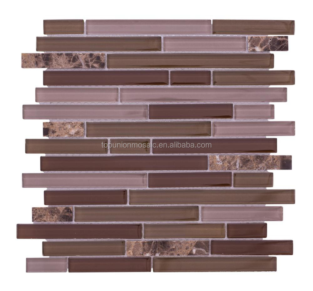 Marble glass mosaic tiles different materials strips mosaic wall tiles