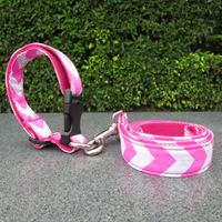 Wholesale Free shipping Chevron Collection Dogs Leash+Collar Sets Fabric Dog Lead in 5 Colors DOM-104053