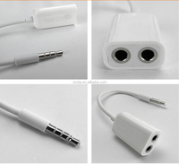 Universal 3.5mm Double Jack Headphone Splitter M 1 to 2 Dual Audio Earphone Accessories for iPod iPhone 4 4S iPad2 Adpater