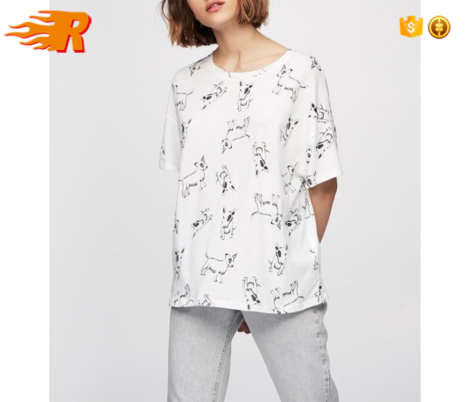 2017 Custom New Fashion Design Oversized White Cotton Dog All Over Shirt Printing