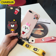 2017 hot selling 3D cute bear and rabbit silicon phone cover for iphone 6/6 plus