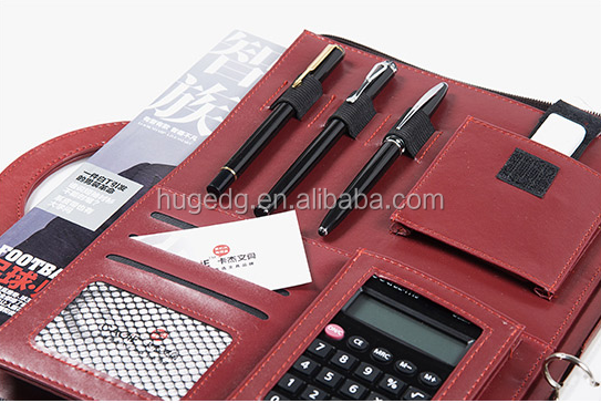 Red color makeup leather portfolio with calculator