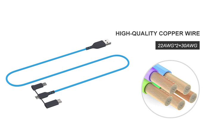Fast charging 3 in 1 USB cable Type C/M to Micro B/M usb cable For Apple iphone 6 7 8 x android