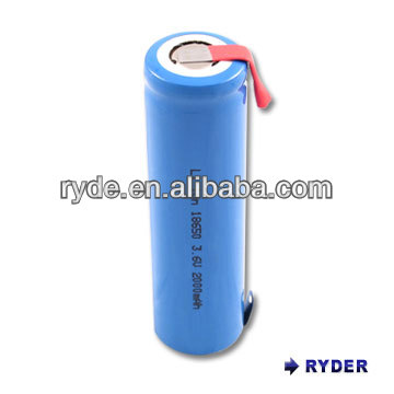 Lithium Ion 18650 3.7V 2000mAh cylindrical rechargeable battery with tab