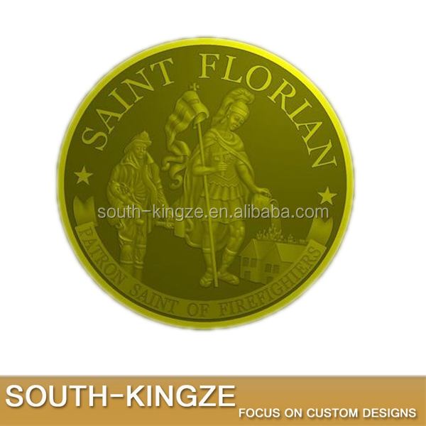 Custom patriotism gold plated saint Florian patron saint of firefighters challenge coins