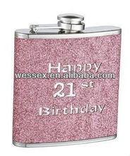 mini stainless steel hip flask with PU leather wrap and laser cutting logo
