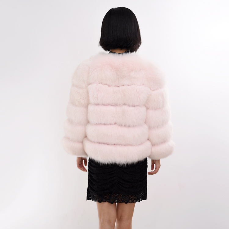 Fashion Pink Fur Coat Women Fox Fur Coat