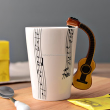 3D Unique Handle Design Cool Coffee Milk Ceramic Tea Mug Cup with Guitar Handle