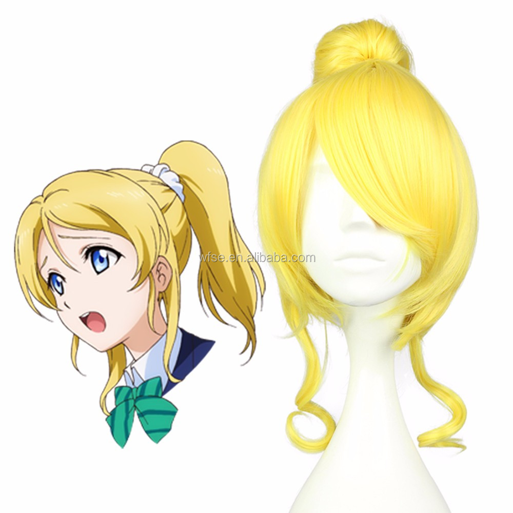 Cosplay Wig Pretty Girl Haistyle 30cm Short Wavy Yellow Synthetic Hair Anime Cosplay Love Live Ayase Eli Wig Pigtail Cosplay wig