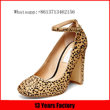 2016 manufacturer wholesale fashion high quality buckle strap ornament round toe 7cm wide women stylish heel shoes