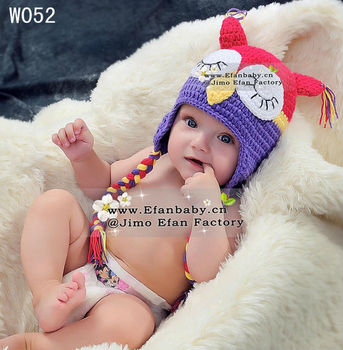Cutest ! wholesale 2013 new knitted baby animal owl beanie hats for kids girls children photo props