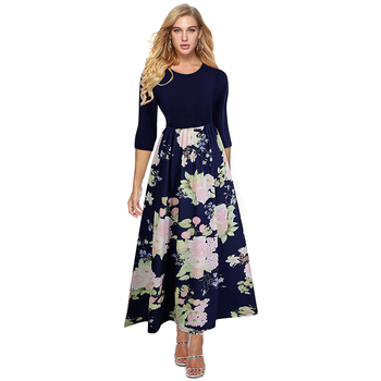 Private Label High Waist Long Sleeve Party Maxi Floral Print Tunic Dress