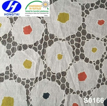 China manufacture hot sale cotton polyester burnt out lace fabric front neck designs for kurtis