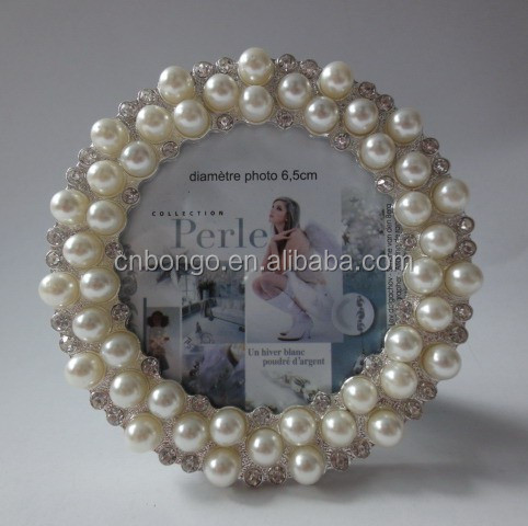 metal picture photo frame with rhinestones and pearls for christmas